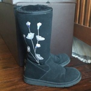 Ugg tall black embroidered boots